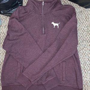 PINK Victoria's Secret Sweaters - Maroon 3/4 zip